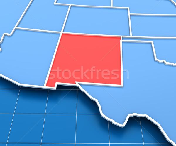 Stok fotoğraf: 3d · render · ABD · harita · New · Mexico · arka · plan · kırmızı