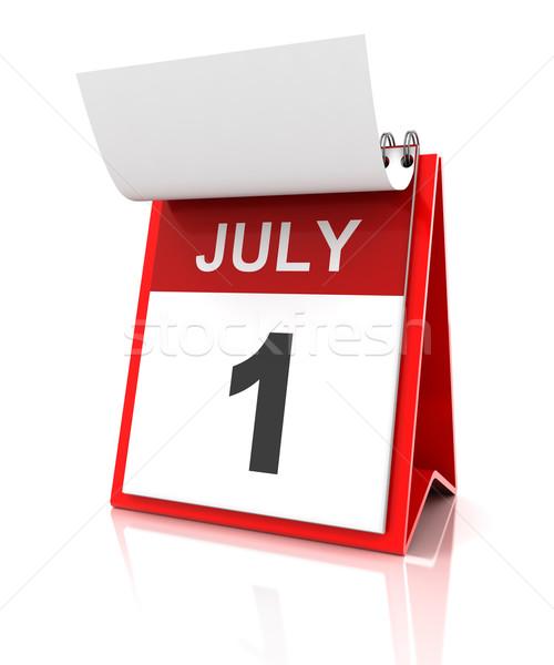 Foto stock: Primeiro · calendário · 3d · render · vermelho · branco · número