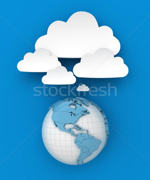 Dünya bulut bo 3d render mavi Stok fotoğraf © ymgerman