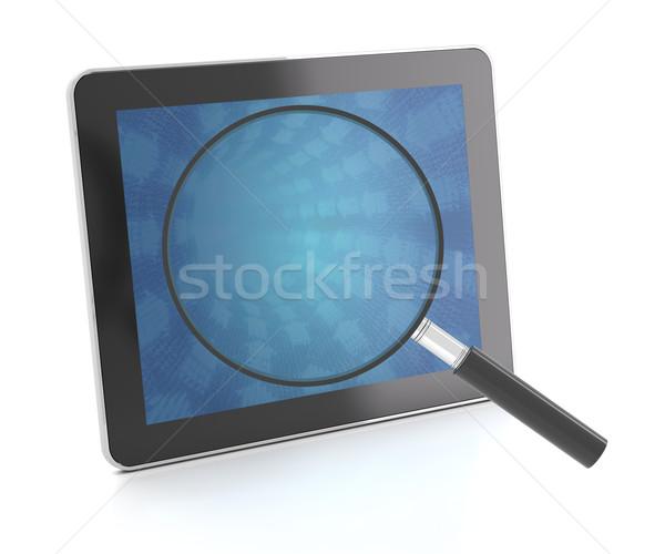 デジタル タブレット 虫眼鏡 3dのレンダリング コンピュータ にログイン ストックフォト © ymgerman