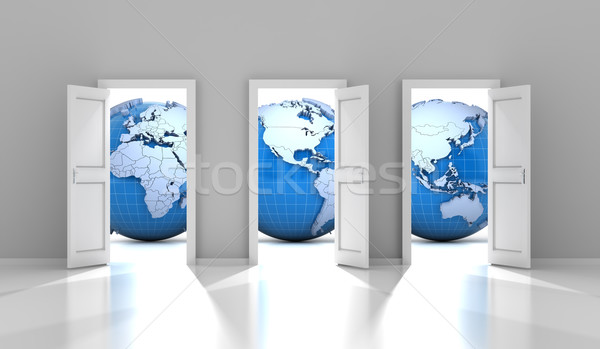 Opened doors leading to different parts of the world Stock photo © ymgerman