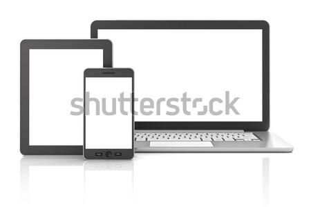 Stok fotoğraf: Tablet · dizüstü · bilgisayar · bo · 3d · render