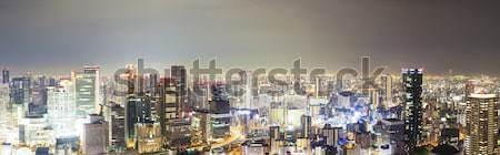 Panoramik görmek ufuk çizgisi Osaka Japonya gece Stok fotoğraf © ymgerman