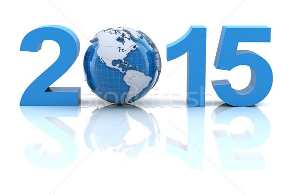 Yılbaşı 2015 dünya 3d render dizayn dünya Stok fotoğraf © ymgerman