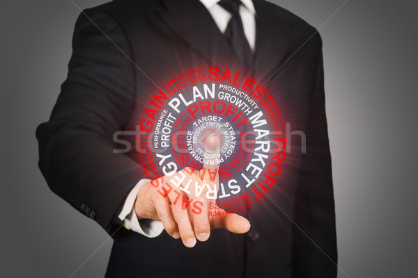 Businessman clicking on a business target Stock photo © ymgerman