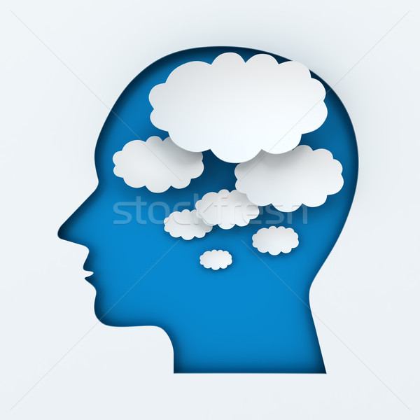 Human head and thought bubbles with copyspace Stock photo © ymgerman