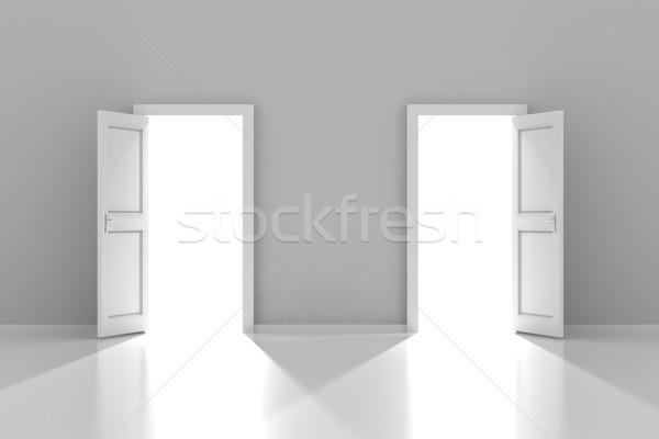 Stock photo: Two doors with copyspace, 3d render