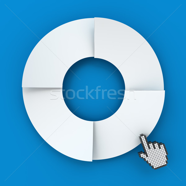 Four steps circle infographic chart with hand cursor, 3d render Stock photo © ymgerman