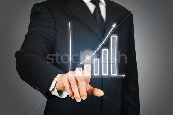 Işadamı grafik sanal dokunmatik ekran teknoloji Stok fotoğraf © ymgerman