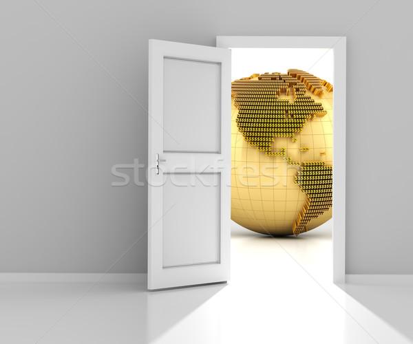 Door to the financial world, 3d render Stock photo © ymgerman