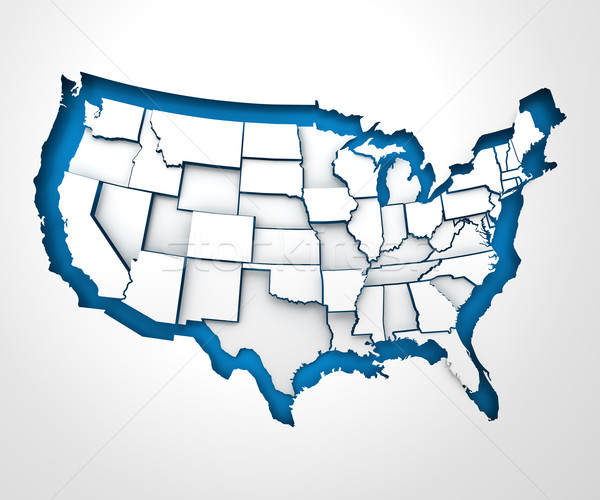 USA paper map with individual states, 3d render Stock photo © ymgerman