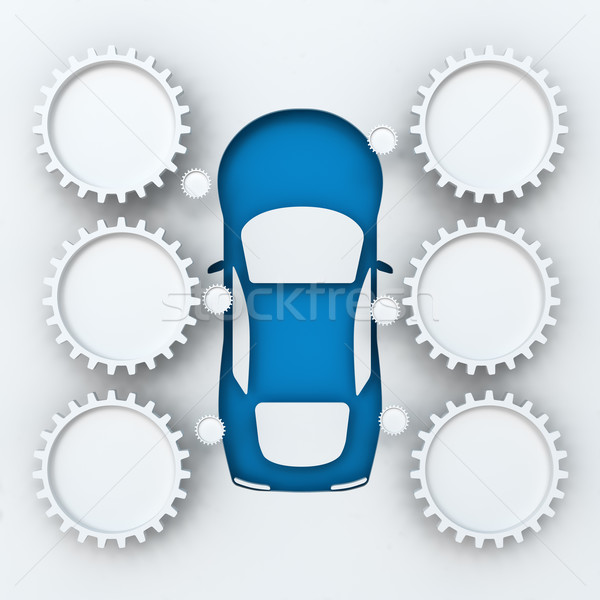 Car infographics with copyspace, 3d render Stock photo © ymgerman