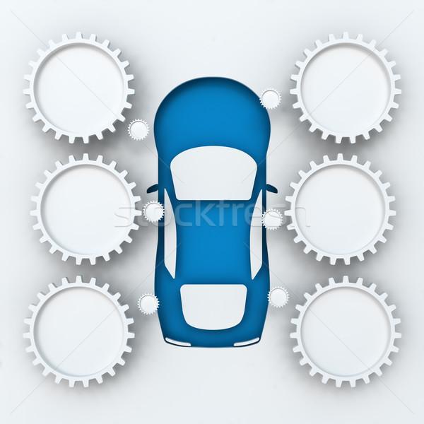 Araba infographics bo 3d render beyaz dizayn Stok fotoğraf © ymgerman