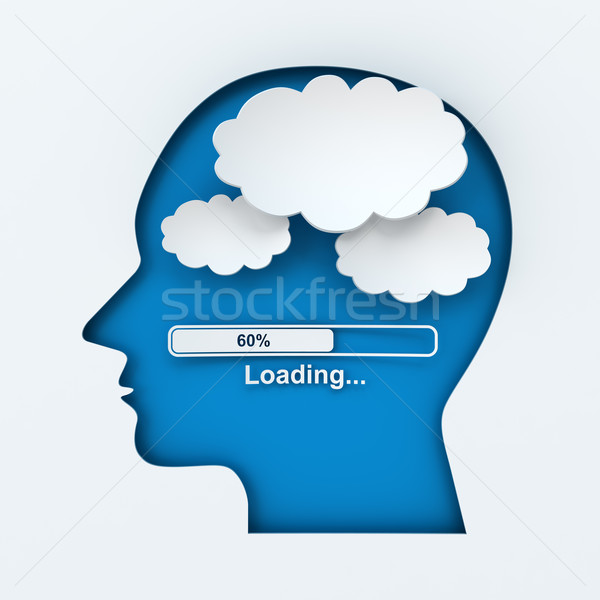 Stock photo: Human head with loading bar and thought bubbles with copyspace