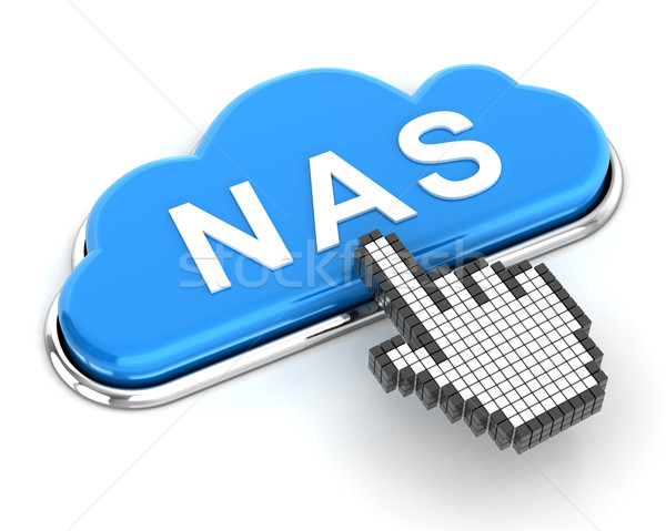 Clicking a cloud shaped NAS button, 3d render Stock photo © ymgerman