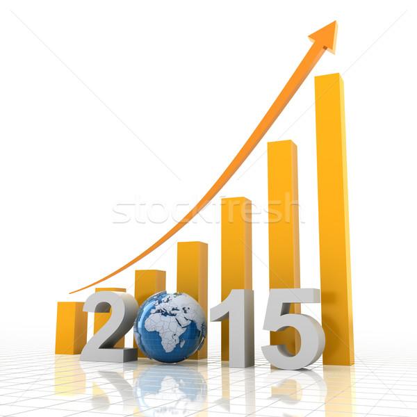2015 global büyüme 3d render arka plan finanse Stok fotoğraf © ymgerman