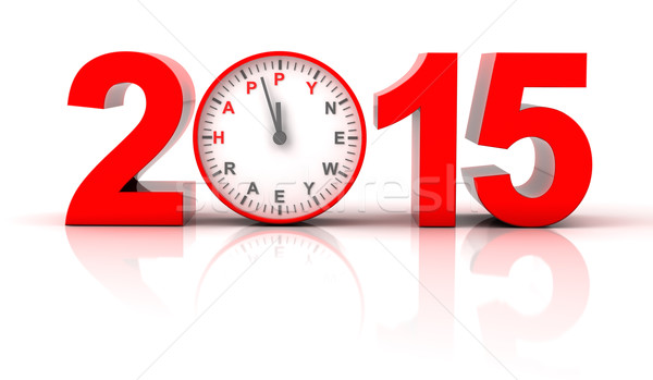 2015 happy new year with clock ticking Stock photo © ymgerman