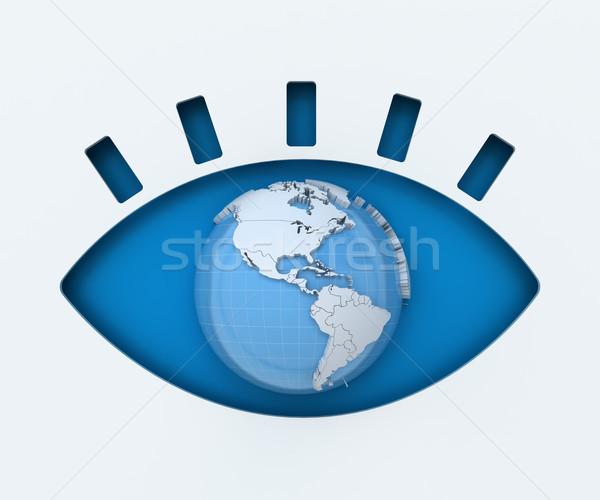 人間 眼 紙 カット 世界中 3dのレンダリング ストックフォト © ymgerman