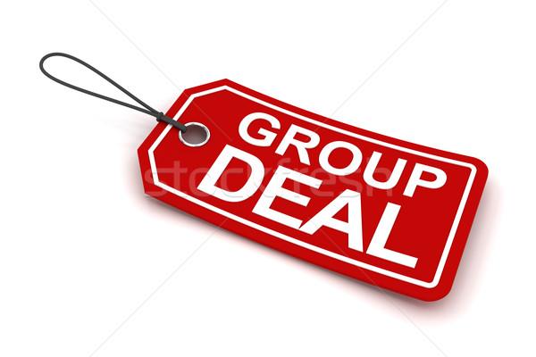 Grup anlaşma etiket 3d render beyaz pazar Stok fotoğraf © ymgerman