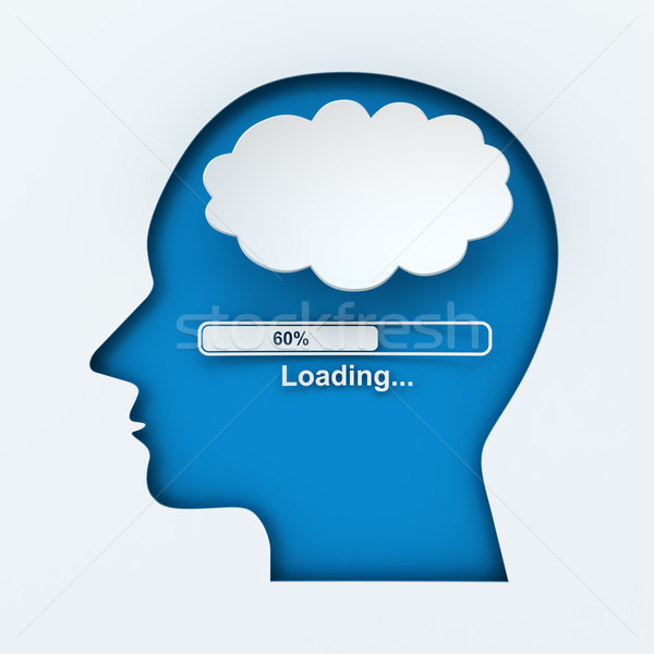 Human head with loading bar and thought bubble Stock photo © ymgerman
