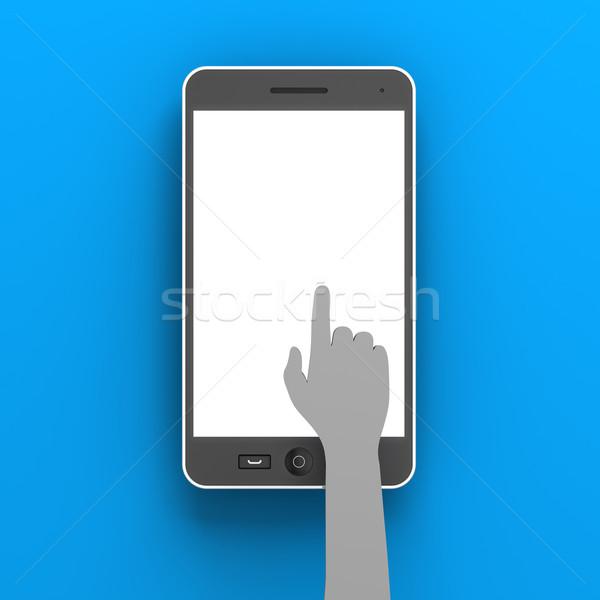 紙 手 スマートフォン コピースペース 3dのレンダリング ストックフォト © ymgerman