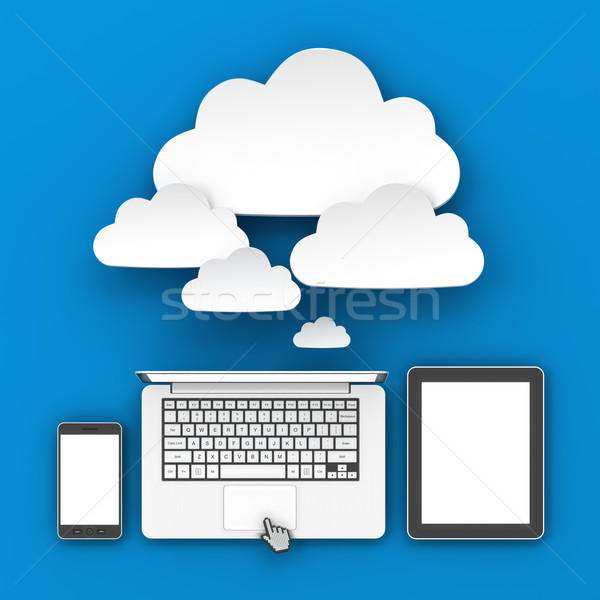 Smartphone, laptop and tablet connecting to cloud Stock photo © ymgerman