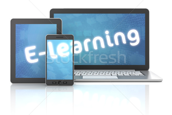 Smartphone, tablet and laptop with E-learning text, 3d render Stock photo © ymgerman