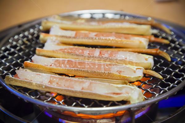 Barbekü yengeç bacaklar Japon restoran pişirme Stok fotoğraf © ymgerman