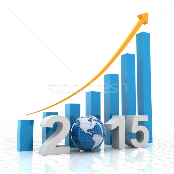 2015 global büyüme 3d render dünya arka plan Stok fotoğraf © ymgerman