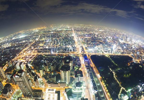 Antenne fisheye Osaka Japan nacht Stockfoto © ymgerman
