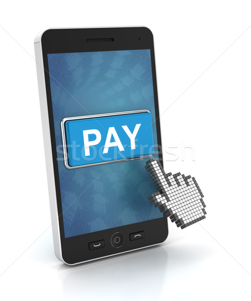 Clicking a pay button on a smartphone, 3d render Stock photo © ymgerman