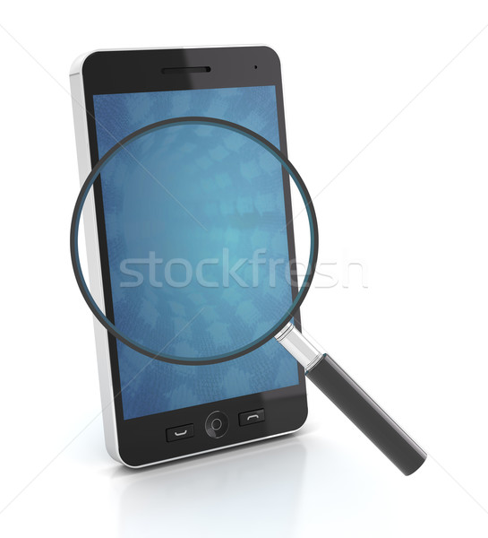 Smartphone with magnifying glass, 3d render Stock photo © ymgerman