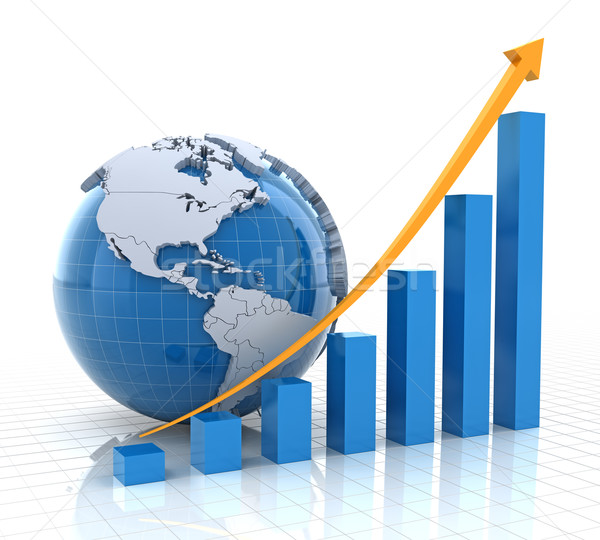 Growth chart with globe, 3d render Stock photo © ymgerman