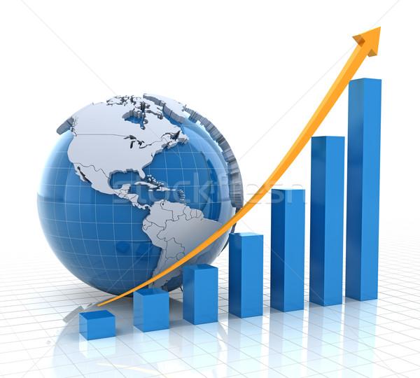 成長 グラフ 世界中 3dのレンダリング 白 ビジネス ストックフォト © ymgerman