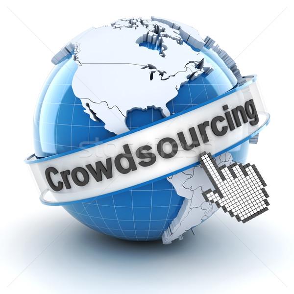 Crowdsourcing símbolo globo cursor 3d render branco Foto stock © ymgerman