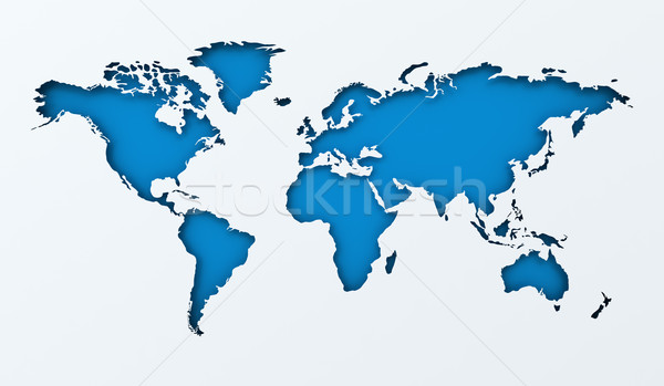 World map paper cutout with blue background Stock photo © ymgerman