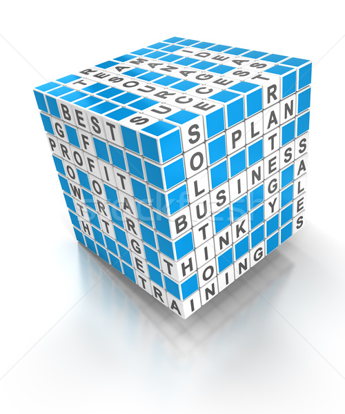 Crossword puzzle cube with business words, 3d render Stock photo © ymgerman