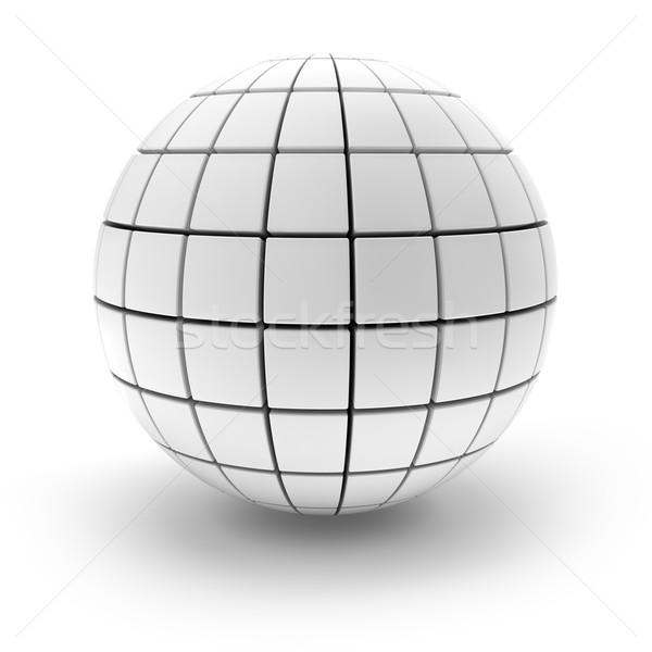 Küre bloklar 3d render beyaz inşaat dizayn Stok fotoğraf © ymgerman