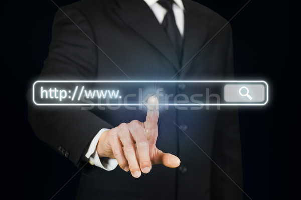 Zakenman internet adres bar business computer Stockfoto © ymgerman
