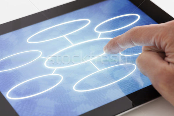 Clicking on a tablet with flow chart Stock photo © ymgerman
