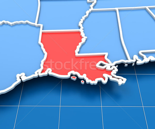 3d render of USA map with Louisiana state highlighted Stock photo © ymgerman