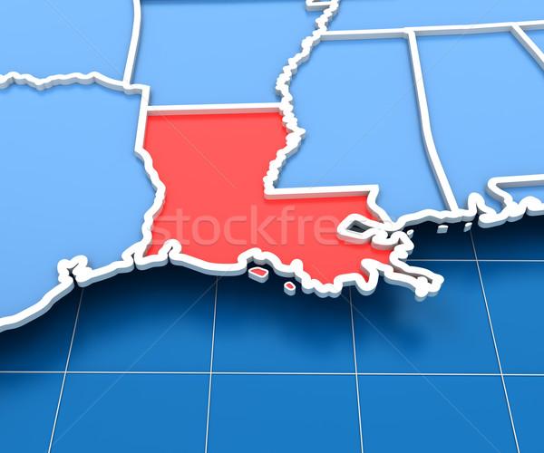 Rendering 3d USA mappa Louisiana sfondo rosso Foto d'archivio © ymgerman