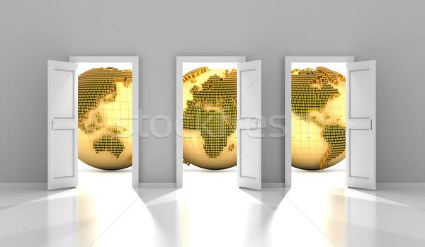 Kapılar global finansal pazar 3d render Stok fotoğraf © ymgerman