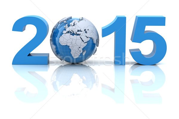 Yılbaşı 2015 dünya 3d render harita dünya Stok fotoğraf © ymgerman