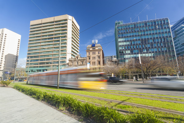 Сток-фото: трамвай · современных · зеленый · город · центра · Аделаида