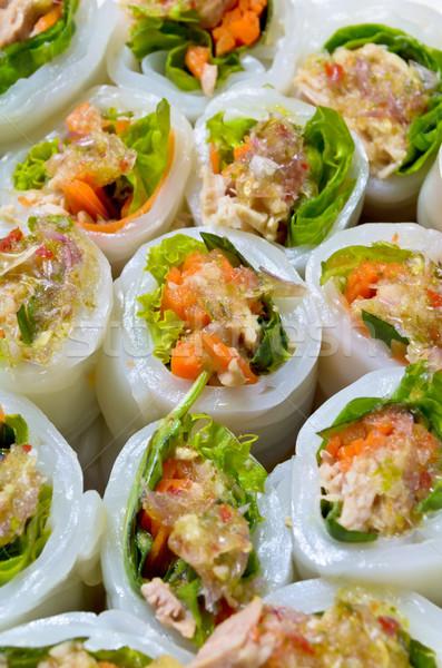 Tészta zöldségek thai étel hal étel egészség Stock fotó © Yongkiet