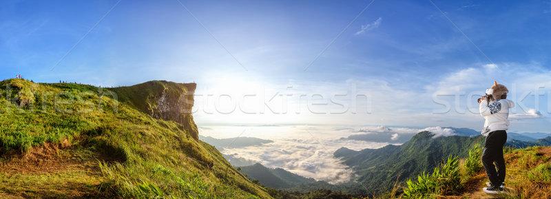 Panorama zonsopgang berg mooie landschap natuur Stockfoto © Yongkiet