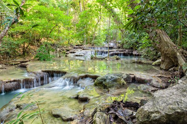 Vízesés Thaiföld gyönyörű trópusi park híres Stock fotó © Yongkiet