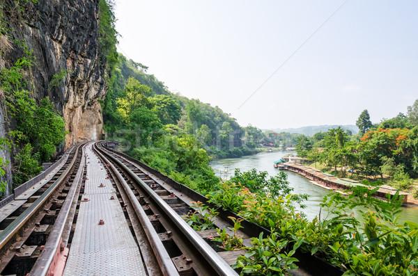 Dood spoorweg brug rivier mooie landschap Stockfoto © Yongkiet
