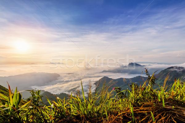 Zonsopgang wolken Thailand mooie landschap natuur Stockfoto © Yongkiet